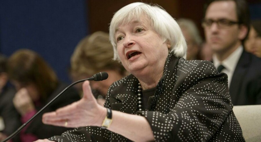 Chefen for den amerikanske centralbank Janet Yellen åbner op for at den historisk lave rente i USA snart kan være fortid. Foto: Brendan Smialowski, Scanpix, AFP