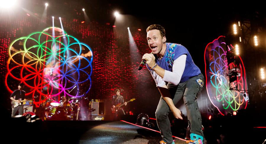 Chris Martin i front for engelske Coldplay i Parken i København tirsdag aften d. 5. juli 2016.