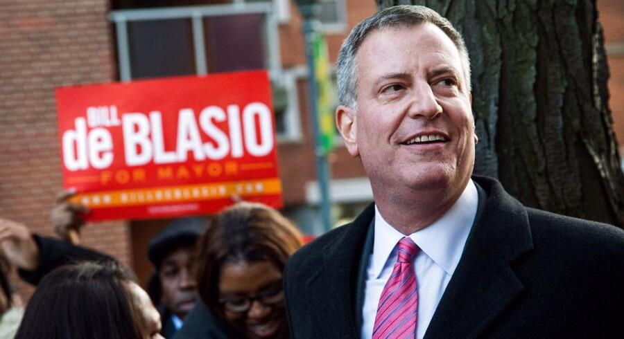 Borgmesterkandidat Bill De Blasio ved et valgmøde i Queens 4. november.