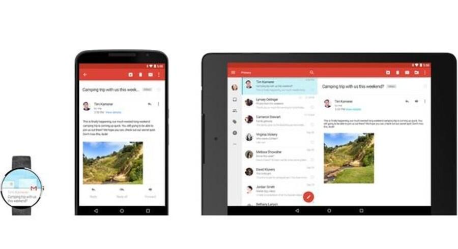 Med opdateringen til Android 5.0 vil mange funktioner virke på tværs af ure, telefoner og tavle-PCer. F.eks. vil man kunne standse et musiknummer og genoptage afspilningen på rette sted på en anden enhed. Meget design er også ændret. Foto: Google