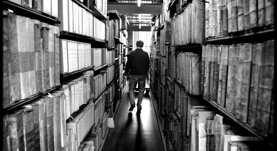 Gamle bøger på Rigsarkivet i København.