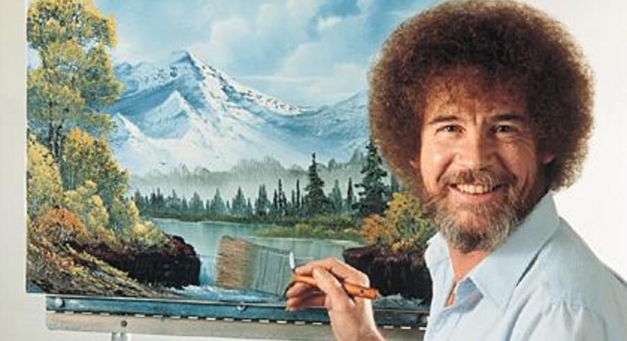 Bob Ross med sit krøllede hår er en legende på amerikansk TV.