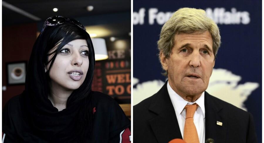 Til venstre dansk-baraineren Zainab al-Khawaja og til højre USAs udenrigsminister John Kerry.