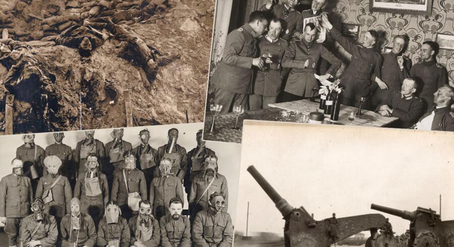 Den 4. august markerer tusindvis verden over 100-året for 1. verdenskrigs udbrud. Det er ikke tilfældigt, for i dagene op til havde aksemagten Tyskland slynget om sig med krigserklæringer. Den 4. august erklærede Storbritannien Tyskland krig, og gjorde dermed krigen til en decideret verdenskrig, der spredte sig helt ud til stormagternes kolonier.  Snart var verdens stormagter i en krig, hvor over ni millioner soldater mistede livet, 22 millioner vendte hjem som nervevrag eller sårede. Fem millioner vendte aldrig hjem. Krigen kostede også over seks millioner civile liv. Hundrede år efter er nye og hidtil ukendte billeder dukket op fra en privat samling. Billederne har aldrig været trykt og eller vist før, og viser krigen fra meget forskellige perspektiver - fra officerernes fester til soldaternes liv i skyttegravene og datidens højteknologiske landvindinger. Klik videre og se alle billederne.