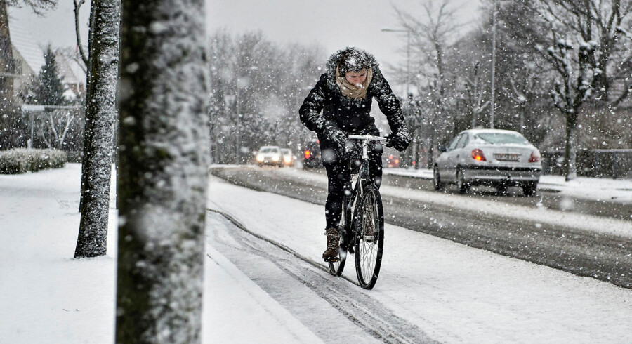 Snevejr i Aalborg mandag d. 23. februar.