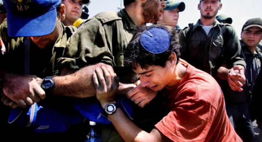 Den israelske hær meddelte i aftes, at den ville starte evakueringen af Neve Dekalim inden for få timer. Det er den største jødiske bosættelse i Gaza-striben, som nu skal under palæstinensisk kontrol. Fristen for at forlade de i alt 21 bosættelser frivilligt udløb ved midnat. Det kom i går til flere sammenstød mellem unge jøder og israelsk politi. <br>Foto: Claus Bjørn Larsen