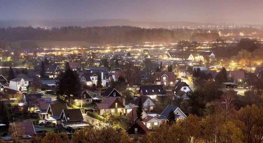 Villakvarter i Ballerup ejendomme, Aften, nat, belysning, ejendomsvuderinger