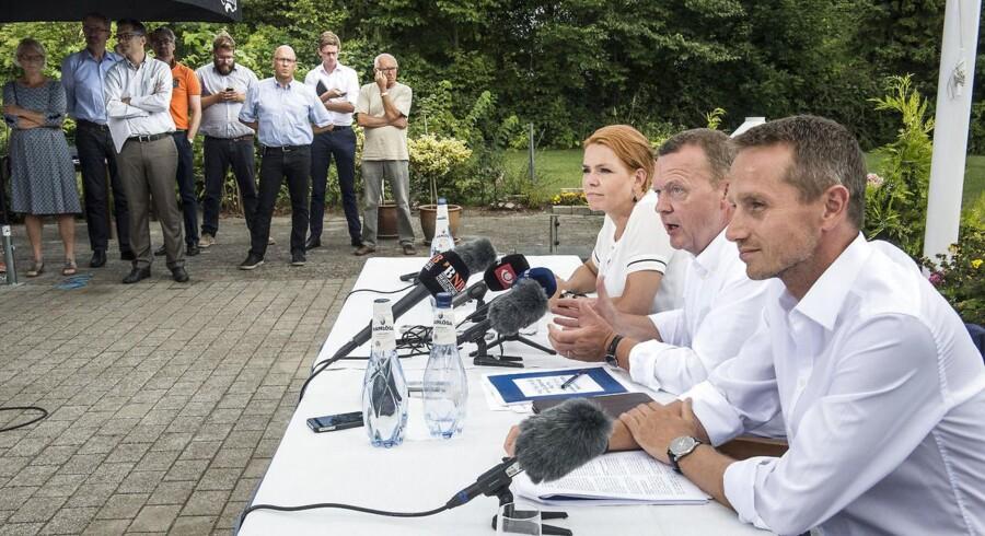 Venstres pressemøde på sommergruppemødet på Hotel Maribo Park. Fra venstre Inger Støjberg, Lars Løkke Rasmussen og Kristian Jensen.