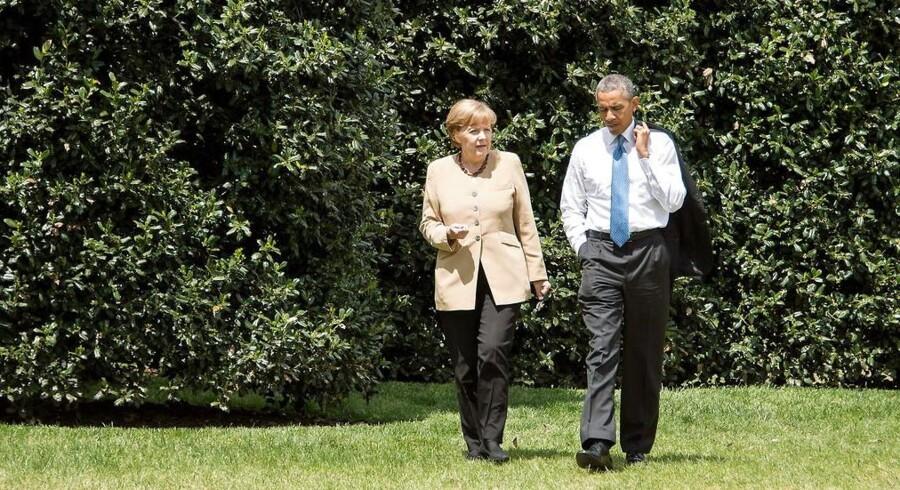 Tysklands kansler Angela Merkel talte alvorsord om spionage med USAs præsident Barack Obama under et besøg for bare to måneder siden. Nu er de to lande havnet i en ny spionkrise.