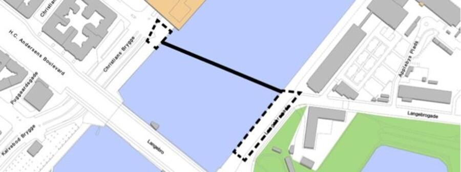 Den nye bro skal forbinde Bryghusgrunden ved Vester Voldgade og Langebrogade på Amagersiden umiddelbart nord for den nuværende, 60 år gamle Langebro. Broen ventes færdig i 2018.