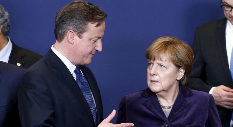Storbritanniens premierminister, David Cameron, sammen med den tyske kansler, Angela Merkel.