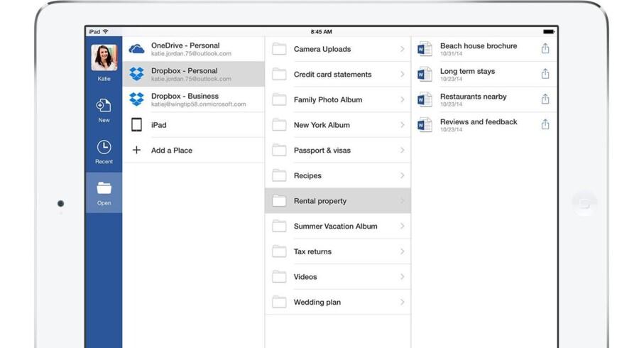 Om ganske kort tid vil brugere af Microsofts Office-applikation kunne tilgå og gemme filer direkte i deres Dropbox og kan samtidig synkronisere dokumenter uden at forlade Office-applikationen. Foto. Dropbox
