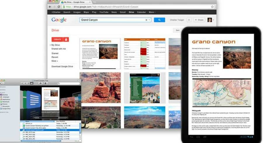 Google Drive fungerer på stort set samtlige platforme, men endnu ikke påApples mobile platform. Linux ser også ud til, i hvert fald foreløbig, at væreblevet forbigået.