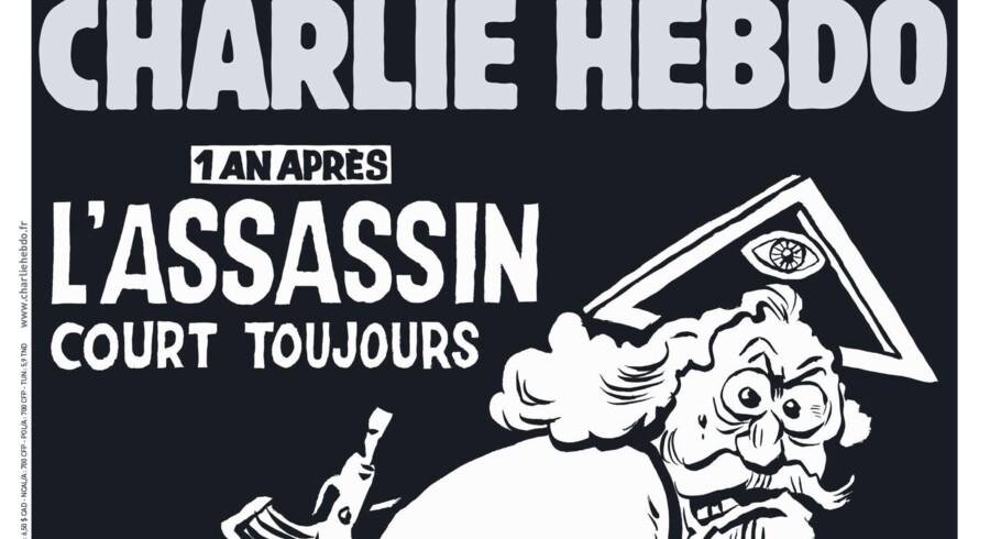 »Et år senere er morderen stadig på fri fod«. Folkene bag Charlie Hebdo giver religion skylden for terrorangrebet i januar 2015.