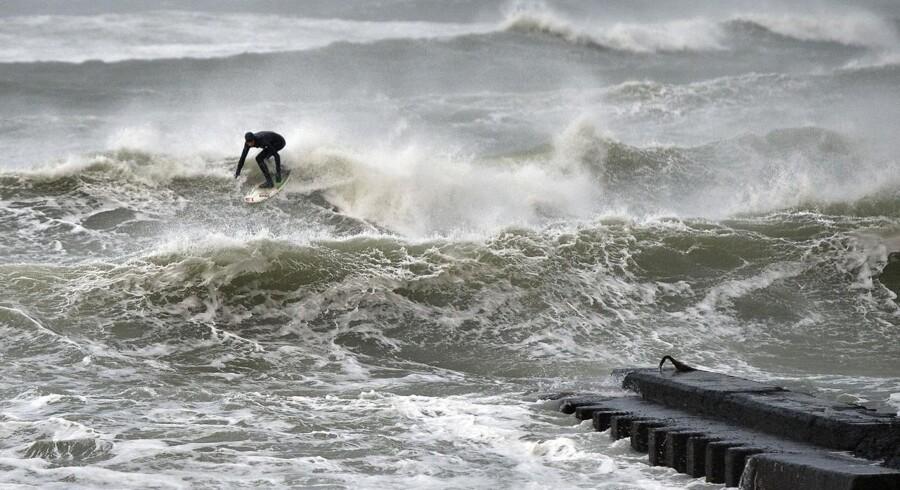 Arkivfoto fra orkanen Allan. Helt så voldsomt forudser DMI ikke, at det bliver denne omgang.
