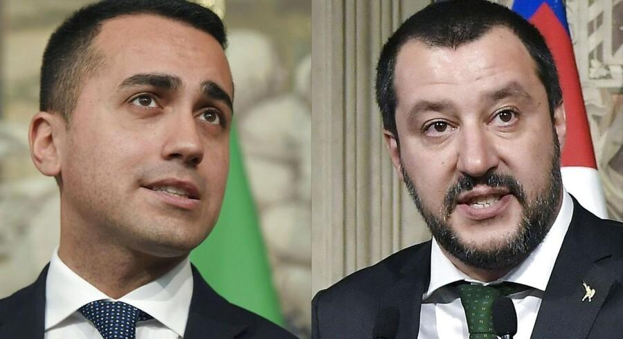 Femstjernebevægelsens Luigi Di Maio (tv) og lederen af det højrenationale Lega, Matteo Salvini, er enige om en premierminister, skriver italienske medier. Fotocollage: TIZIANA FABI/Ritzau Scanpix