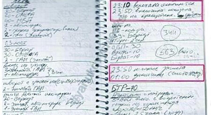Præsident Janukovitjs sikkerhedschef nåede ikke at få sin dagbog med, da han flygtede over hals og hoved. I dagbogen er nøje redegjort for forløbet, da aktivisten Tjetana Tjornovol kom i kløerne på sikkerhedspparatet. Foto: Scanpix