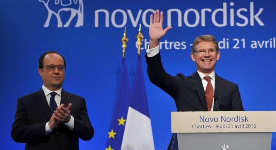 Novo Nordisk-topchef, Lars Rebien, er i Frankrig og mænger sig med landets præsident og to ministre. Det sker i forbindelse med udvidelsen af virksomhedens fabrik i byen Chartres. Novo Nordisk investerer omkring 750 mio. kr. i fabrikken. Se billederne fra besøget her.