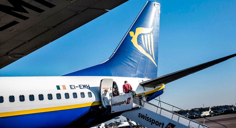 ARKIVFOTO 2015 af Ryanair fly- - Se RB 10/7 2015 18.34. Ryanair lukker base i Billund, hvis ikke fagbevægelsen skriver under på at droppe sympatikonflikt i København. (Foto: Thomas Lekfeldt/Scanpix 2015)