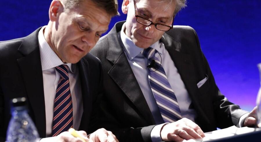 Bestyrelsesformand Ole Andersen (til venstre) og koncernchef Thomas Borgen har udpeget målene for Danske Bank i 2014.