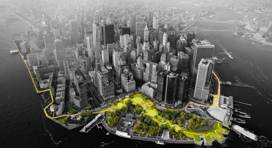 Den danske stjernearkitekt Bjarke Ingels fylder torsdag den 2. oktober 40. Bjarke Ingels har siden 2001 designet flere bygninger, museer og parker verden rundt. Se her et udsnit af nogle af hans færdige og igangværende projekter.Her ses Projektet BIG U, der er et slusesystem og promenadedesign i New York, der skal fungere som beskyttelse mod oversvømmelser og som opholdssted for New Yorks beboere.