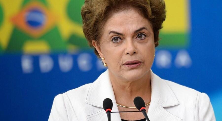 Årsagen til medgangen på landets børs skyldes tilsyneladende, at investorerne sætter deres lid til, at der vil komme et politisk skifte, når Petrobras-skandalen begynder at omfatte landets præsident, Dilma Rousseff. Arkivfoto.