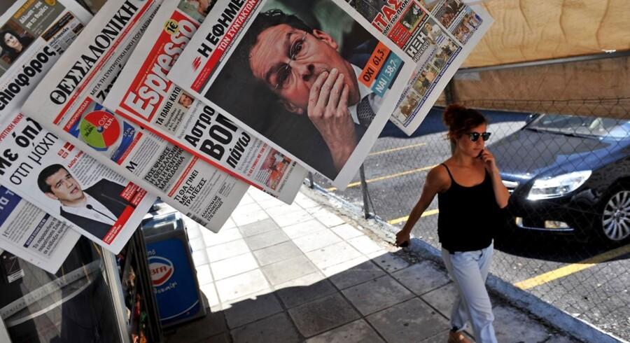Græske aviser, dagen efter valget. Over 61% af vælgerne stemte nej.