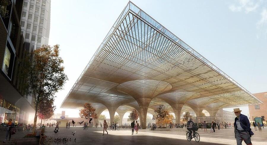 Arkitektfirmaet Cobes udkast til en overdækning af banegårspladsen i Finlands næststørste by, Tampere