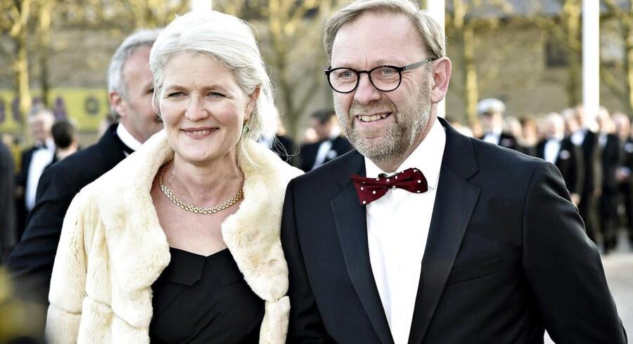 Michael Dyrby med hustru Helle Dyrby Høy ved Dronning Margrethes 75 års fødselsdag. Foto: Kim Haugaard