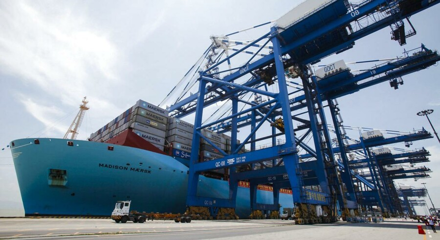 "Triple-E class container ship ""Madison Maersk"" of Maersk Line loaded with containers is berthed at Nansha port in Guangzhou, Guangdong province June 26, 2014."
