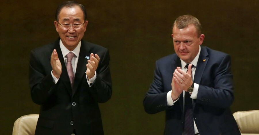 Lars Løkke Rasmussen sammen med Ban Ki-moon under FNs generalforsamling i New York.