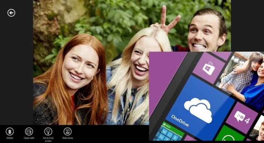 Med Microsofts OneDrive gemmer man billeder, film, dokumenter og alt andet på Microsofts netlagertjeneste og har så adgang til det hele fra enhver maskine med internetforbindelse. Foto: Microsoft