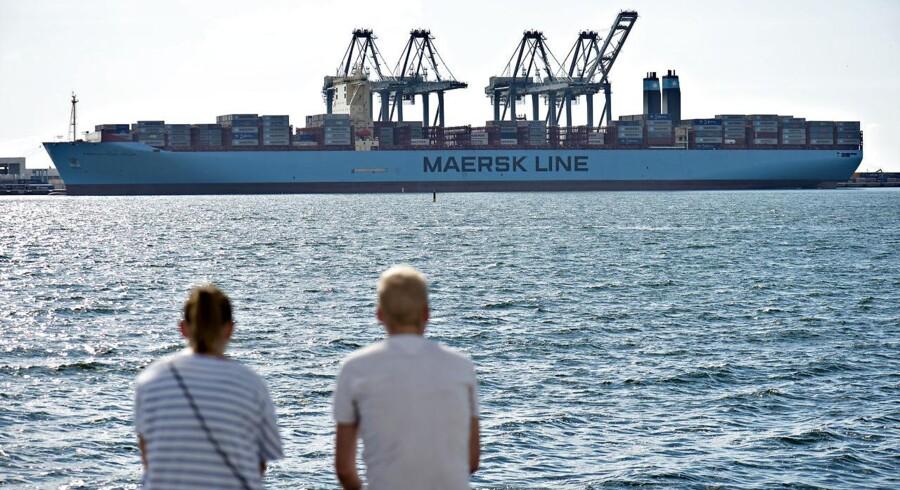 Verdens største containerskib 'Mærsk Mc-Kinney Møller' i Aarhus Havn. ARKIVFOTO.
