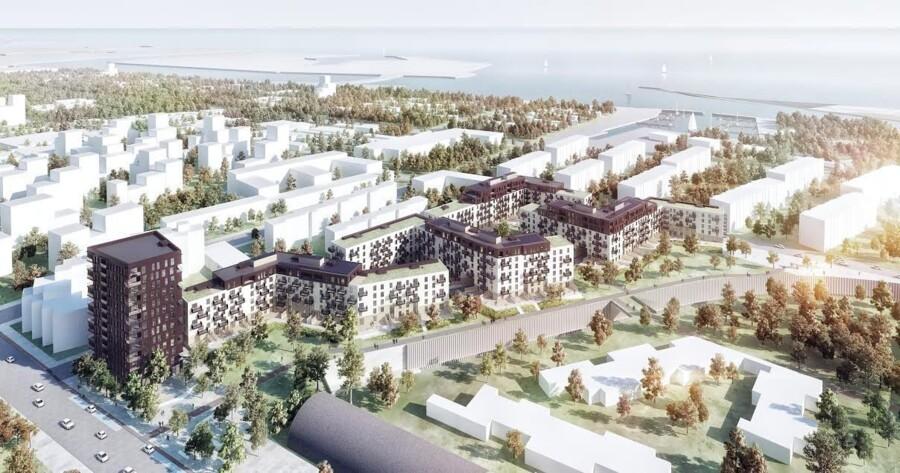 Øresund Strandpark-projektet får dels boligblokke på op til syv etager, dels et tårn med 13 etager. Kompleksets 430 boliger omfatter både penthouselejligheder, »normale« lejligheder og 20-30 rækkehuse i to plan. Visualisering fra Henning Larsen Architects