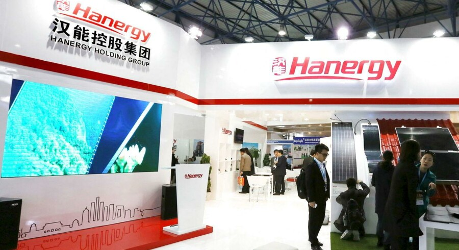 A Hanergy exhibition stand is seen at a Clean Energy Expo in Beijing in this April 1, 2015 file photo. China's Hanergy Thin Film Power Group is under investigation by Hong Kong's market watchdog, a source told Reuters just hours after the company lost half its market value of nearly $40 billion in 24 minutes on May 20, 2015. REUTERS/Stringer/Files CHINA OUT.NO COMMERCIAL OR EDITORIAL SALES IN CHINA