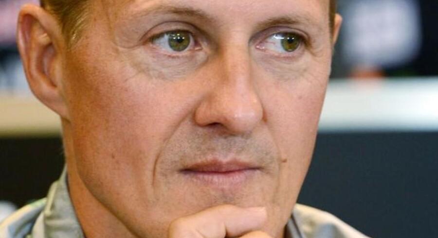 Arkivfoto af Michael Schumacher taget ved en pressekonference 30. august 2012.
