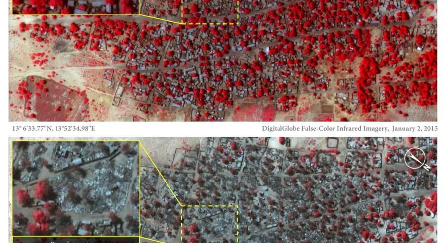 Infrarøde sattelitbillederne viser trækroner og bygninger i byen Doron Baga i det nordøstlige Nigeria taget 2. januar og 7. januar.