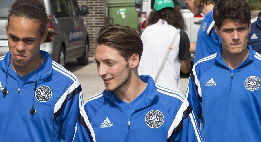 Rasmus Falk (i midten) er udtaget til landsholdets kampe mod Polen og Montenegro. Scanpix/Jens Nørgaard Larsen