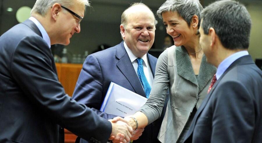 Økonomi- og indenrigsminister Margrethe Vestager (R) oplevede en sjældent set optimisme blandt EUs finans- og økonomiministre, da hun tirsdag var i Bruxelles.
