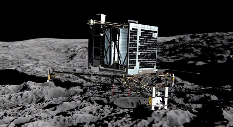 Philae som man forestiller sig, at den vil se ud efter landingen på kometen sidst på eftermiddagen