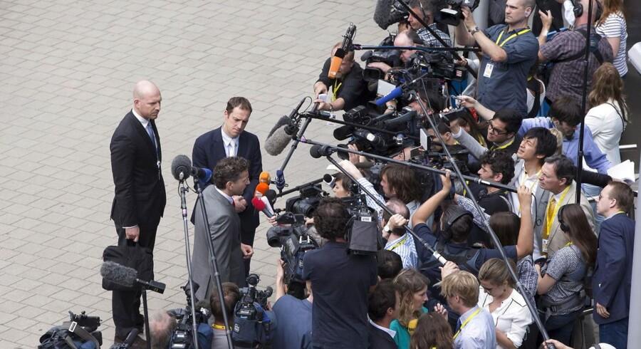 Eurogruppens formand, den hollandske finansminister Jeroen Dijsselbloem, ved sin ankomst til det hasteindkaldte topmøde med stats- og regeringscheferne fra eurolandene.