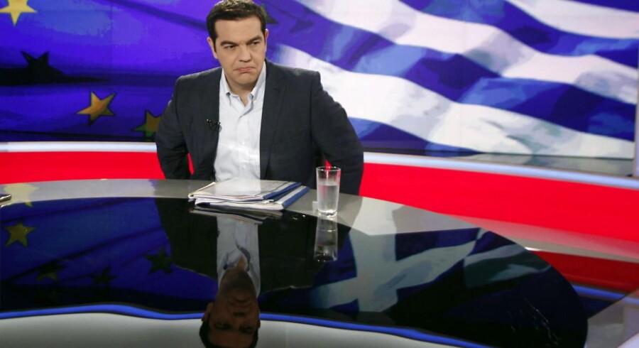 Den græske premierminister Alexis Tsipras i en TV-tale.