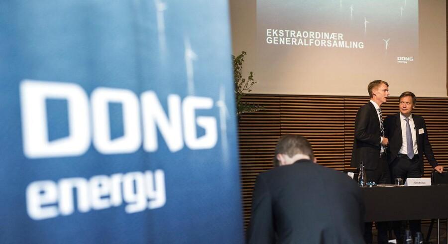 DONG generalforsamling - direktør i DONG Energy, Henrik Poulsen og bestyrelsesformand Thomas Thune Andersen. (Foto: Søren Bidstrup/Scanpix 2016)