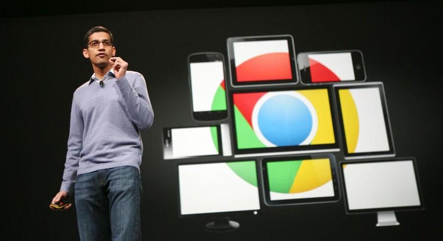 Googles chef for Chrome, Sundar Pichai, fortæller på Googles udviklerkonference i San Francisco, USA, at Chrome nu også er blevet lukket ind i Apple-verdenen. Foto: Kimihiro Hoshino, AFP/Scanpix