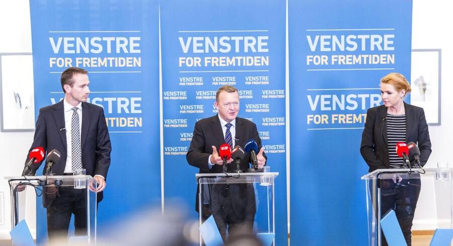 """Venstre præsenterer et unge udspil """"Alle unge godt fra start"""". Venstre. Pressemøde i Grupperummet på Christiansborg. Lars Løkke Rasmussen, Kristian Jensen og Støjberg."""
