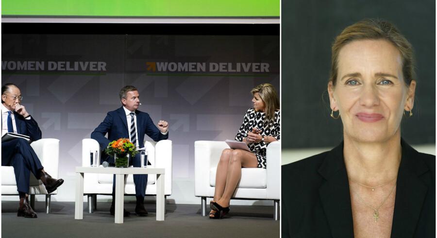 Women Deliver 2016 i Bella Center. Hollandsdronning Maxima (th) og World Bank præsident Jim Yong Kim(tv) i samtale med Kim Bildsøe Lassen (im) onsdag d. 18. maj 2016.