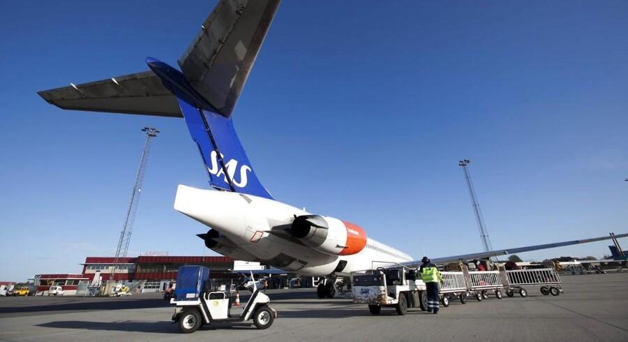 Et SAS-fly i Aarhus-lufthavnen Tirstrup.