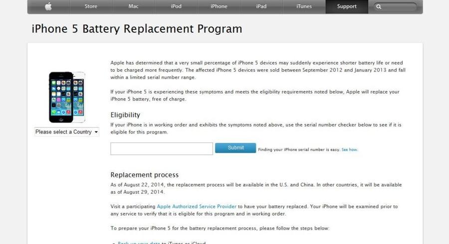 Det er anden gang inden for et år, at Apple må tilbagekalde defekte batterier til iPhone 5-telefonen.