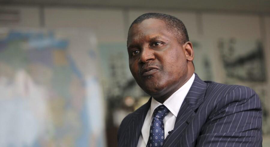 Aliko Dangote er kendt for at betale sine lån tilbage på kort tid. Hans cementfabrik forventes at blive verdens største, og han har planer om at bygge Afrikas største olieraffinaderi. Foto: Akintunde Akinleye/Reuters
