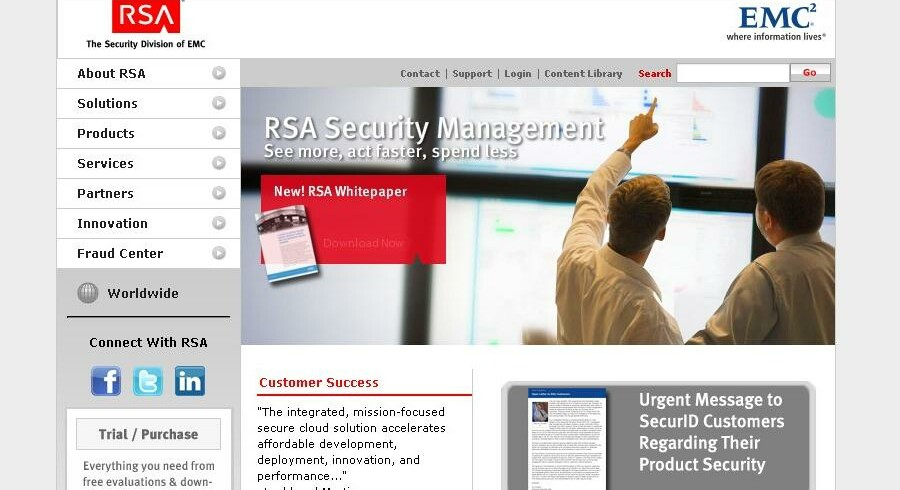 EMC advarer nu på forsiden af sit netsted om hackerangrebet med en »Urgent message« (vigtig meddelelse).